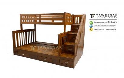 เตียงสองชั้นไม้สัก BE049