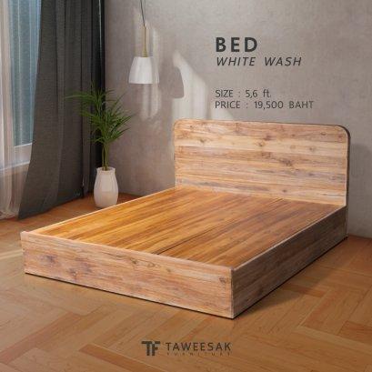 เตียงไม้สัก หัวเตียงขอบมน BE096