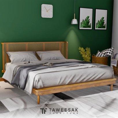 Mokka Bed เตียงหวายโครงไม้สัก สไตล์มินิมอล BE091