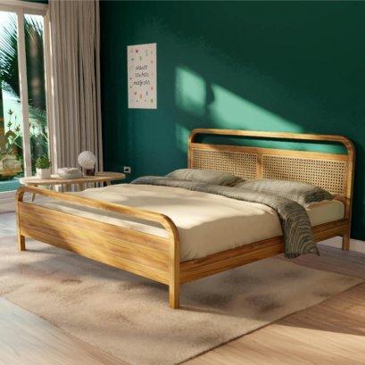 เตียงไม้สัก หัวเตียงบุหวาย Cane Bed BE081