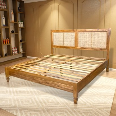 เตียงไม้สัก หัวเตียงบุหวาย ไม่มีท้ายเตียง BE092
