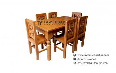 ชุดโต๊ะอาหารไม้สัก DS008