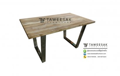 โต๊ะอาหารไม้สักแสตนเลส DS027