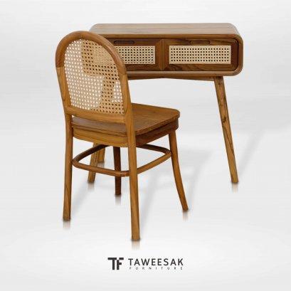 ชุดโต๊ะเครื่องแป้งไม้สักผสมหวาย DT031