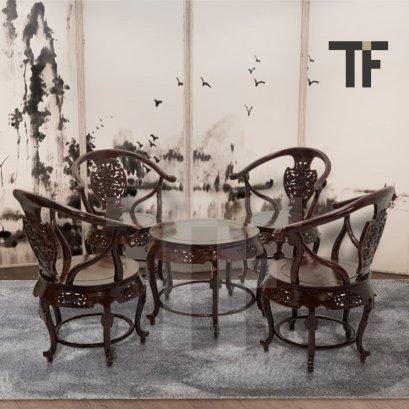 ชุดโต๊ะน้ำชาไม้สักลายหลุยส์ TS012