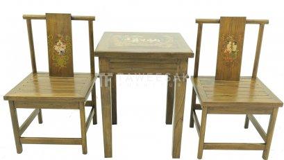 ชุดโต๊ะน้ำชาเพ้นท์ลายไม้สัก TS003