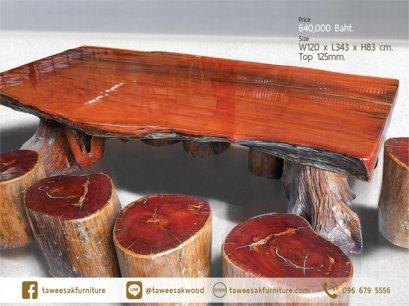 โต๊ะไม้มะค่าแผ่นเดียว TT003