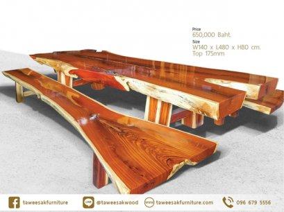 โต๊ะไม้มะค่าแผ่นเดียว TT002