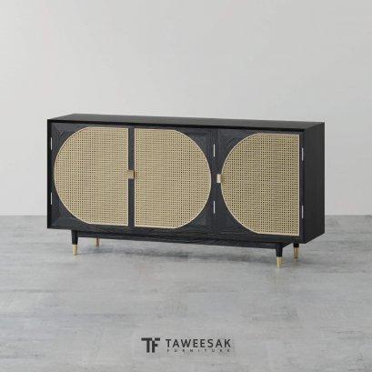 ตู้วางทีวีไม้สักผสมหวาย รุ่น Half สไตล์ modern luxury TV070