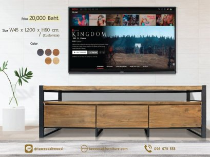 ไซด์บอร์ดวางทีวีโมเดิร์นไม้สัก TV038