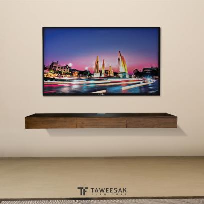 ไซด์บอร์ดวางทีวีไม้สักติดผนัง TV050