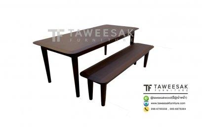 ชุดโต๊ะอาหารไม้สักจานบิน DS030