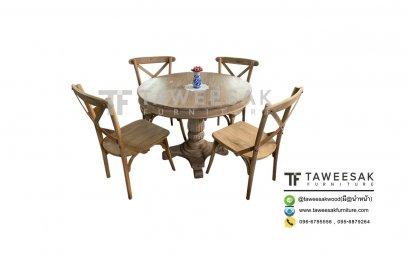 ชุดโต๊ะอาหารไม้สัก DS034