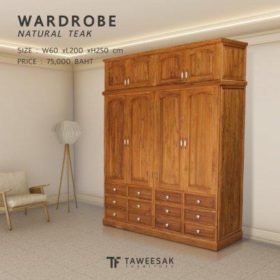 ตู้เสื้อผ้าไม้สักขนาดใหญ่ สูงติดเพดาน WD065