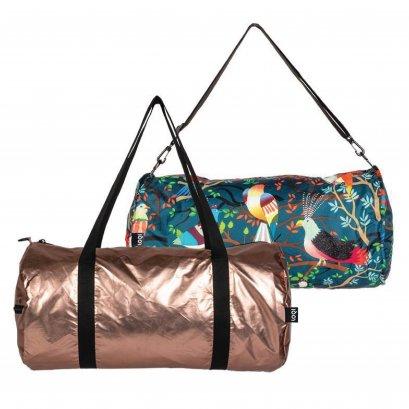 กระเป๋าผ้าเดินทางLOQI ใช้ได้2ด้านกันน้ำMETALLIC Matt Rose Gold Weekender