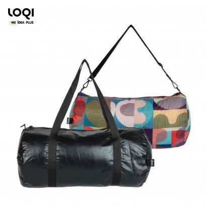 กระเป๋าผ้าเดินทางLOQI ใช้ได้2ด้านกันน้ำMETALLIC Matt Black Weekender