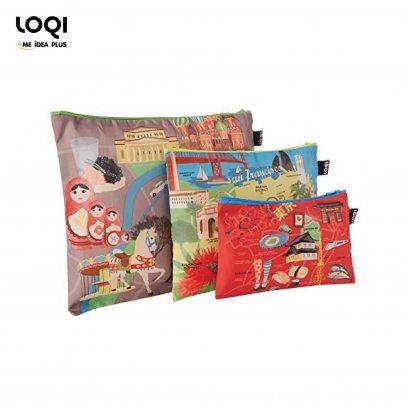 ซองซิปเอนกประสงค์ LOQI มี 3 ขนาดใน 1 แพค URBAN Zip Pockets