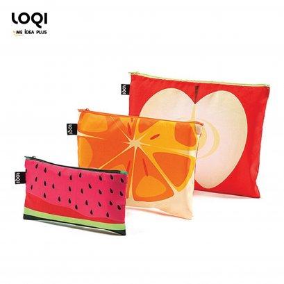 ซองซิปเอนกประสงค์ LOQI มี 3 ขนาดใน 1 แพค FRUTTI Zip Pockets