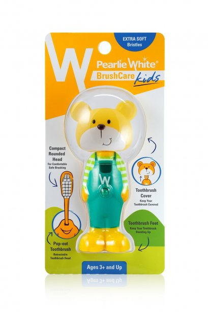 Pearlie White BrushCare Kids Pop-Up Extra Soft Toothbrush - Bear