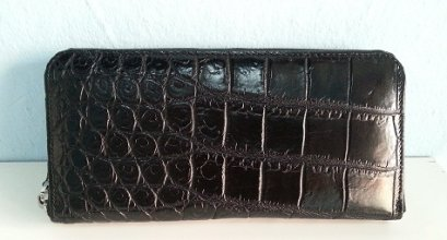 Belly Black Crocodile Leather One Zip Wallet #CRW467W-BL