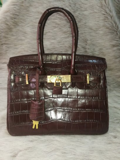 Luxury Genuine Crocodile Tote Bag/Handbag in Chocolate Brown Crocodile Skin #CRW214H-BR-25CM