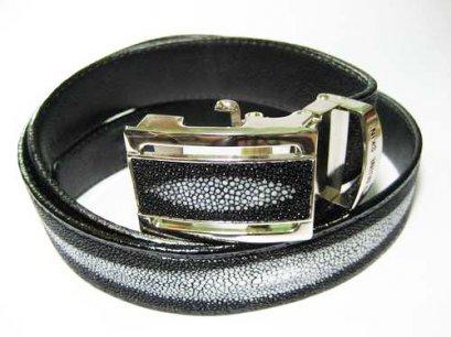 Genuine Stingray Leather Belt in Black Stingray Skin  #STM645B-04