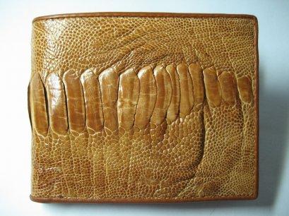 Genuine Leg Ostrich Leather Wallet in Light Brown Ostrich Skin  #OSM608W