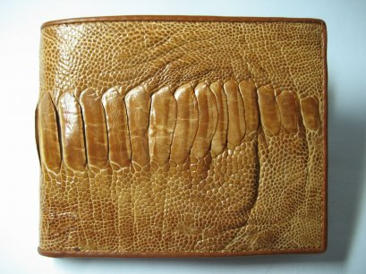 Genuine Leg Ostrich Leather Wallet in Light Brown Ostrich Skin  #OSM608W