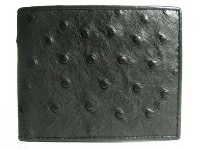 Genuine Ostrich Leather Wallet in Black Ostrich Skin  #OSM604W
