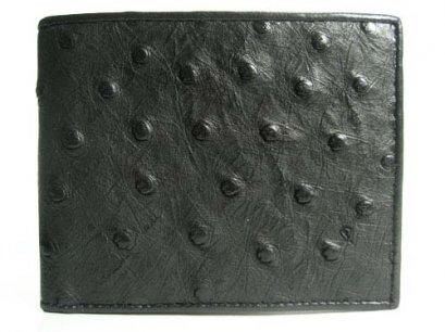 Genuine Ostrich Leather Wallet in Black Ostrich Skin  #OSM604W