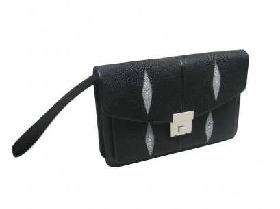 Genuine Stingray Leather Handbag in Black Stingray Skin  #STM386H