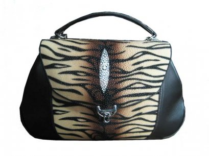 Ladies Stingray Leather Handbag with Tiger Stripes in Brown Stingray Skin  #STW391H