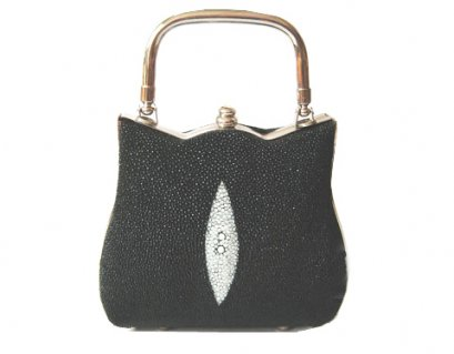 Ladies Stingray Leather Handbag in Black Stingray Skin  #STW394H