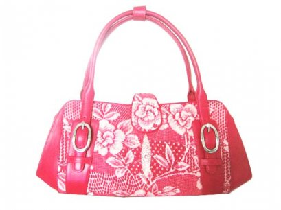 Genuine Stingray Leather Handbag with Rose Design in Pink Stingray Skin  #STW397H-02
