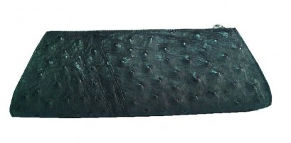 Black Ostrich Leather Clutch Bag #OSW333H-BL