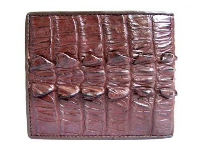 Genuine Tail Crocodile Leather Wallet in Red-Brown Crocodile Leather #CRM448W-05