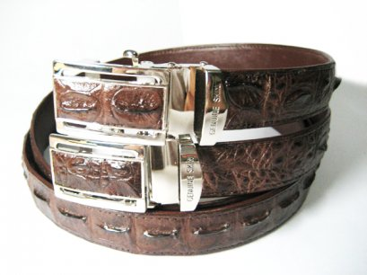 LOT 2 Men Genuine Crocodile Belt in Dark Brown Crocodile Leather  #CRM638B-06