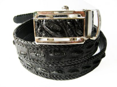 Handcrafted Weave Crocodile Belt with in Black Crocodile Leather  #CRM644B-01