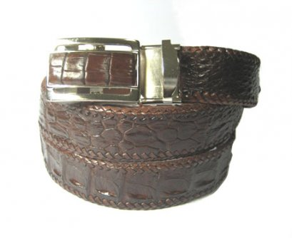 Handcrafted Weave Crocodile Belt with in Brown Crocodile Leather  #CRM644B-03