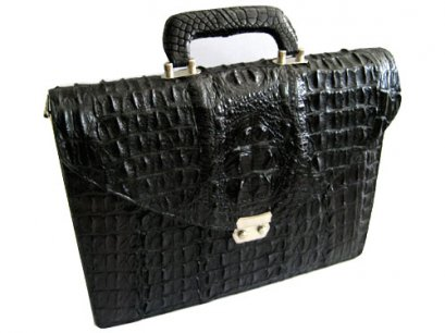 Genuine Hornback Crocodile Leather Briefcase with Full Bone Back Crocodile Skin in Black Colour  #CRM429BR