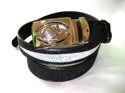 Genuine Stingray Leather Belt in Black Stingray Skin  #STM645B-03