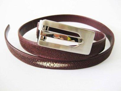 Ladies Stingray Leather Belt in Burgundy Stingray Skin  #STM648B-03