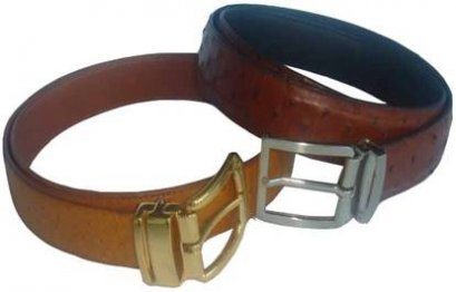 Genuine Ostrich Leather Belt in Brown Ostrich Skin  #OSM655B-02