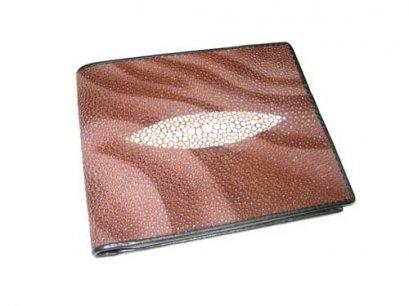 Genuine Stingray Leather Wallet in Brown Wave Design  #STM497W