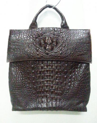 Genuine Hornback Siamese Crocodile Leather Handbag in Dark Brown Crocodile Leather #CRW322H-BR