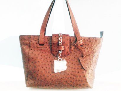 Genuine Ostrich Leather Handbag in Chocolate Brown #OSW331H-BR