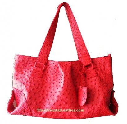 Genuine Ostrich Leather Handbag in Red #OSW330H-RE