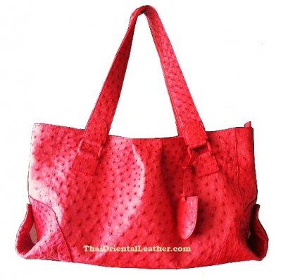 กระเป๋าสะพายหนังนกกระจอกเทศแท้ สีแดง #OSW330H-RE