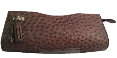 Chocolate Brown Ostrich Leather Clutch Bag #OSW334H-BR