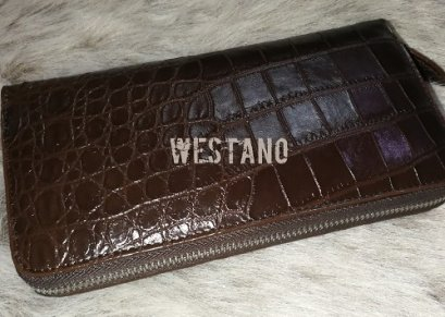 Belly Brown Crocodile Leather One Zip Wallet #CRW467W-BR